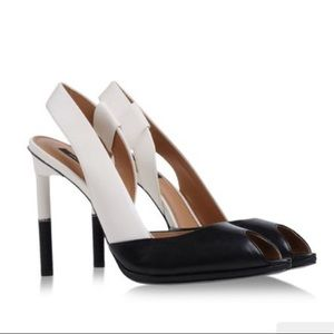 Rachel Zoe black and white peep toe heels - size 7